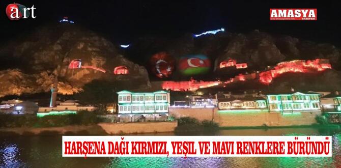 Harşena Dağı Kırmızı, Yeşil ve Mavi Renklere Büründü