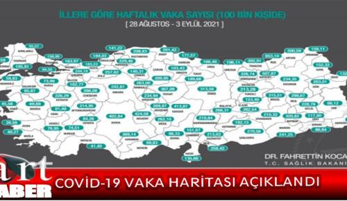 28 Ağustos-3 Eylül arasında 100 bin kişide görülen haftalık Covid-19 vaka haritası açıklandı.