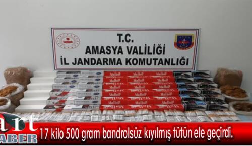 17 kilo 500 gram bandrolsüz kıyılmış tütün ele geçirdi.
